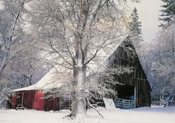 cabin winter scene