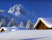 snow on cabins